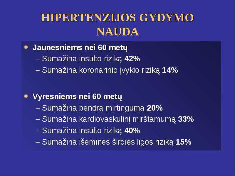 išeminės hipertenzijos gydymas