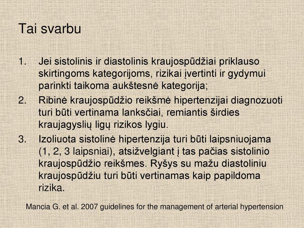 hipertenzijos rizika 2 laipsniai
