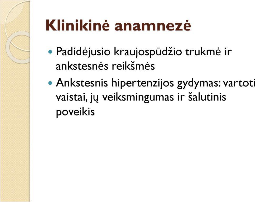 hipertenzijos patogenezės etiologijos klinika