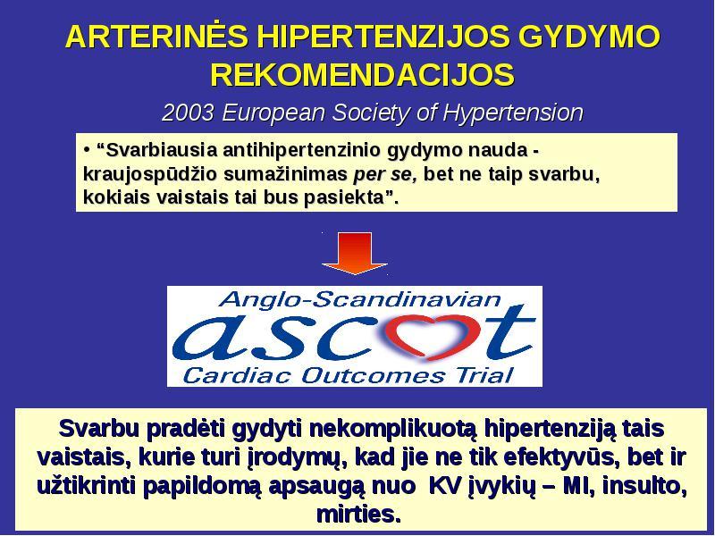 hipertenzijos gydymo procedūros
